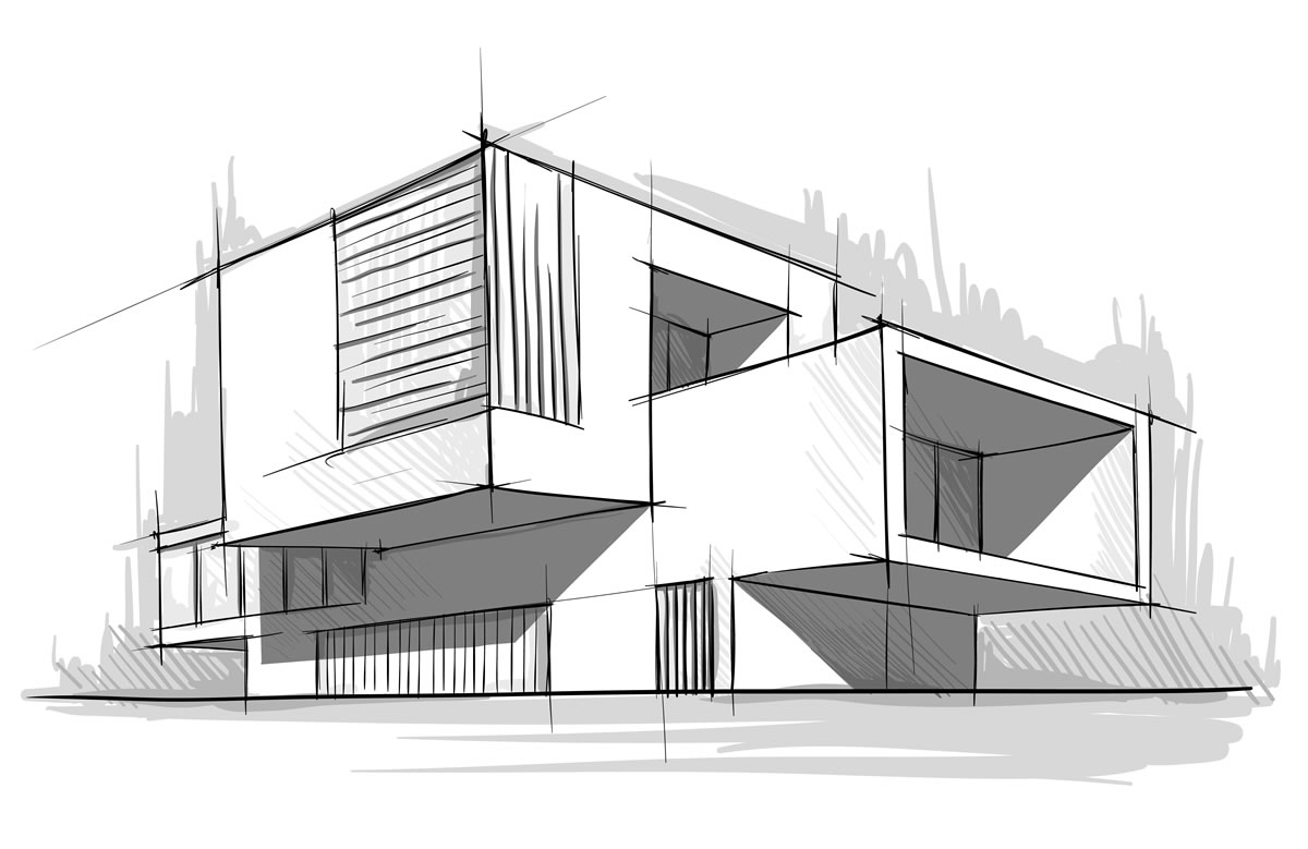 modern-style-architecture-house-sketch-with-sketch-of-modern-building-1